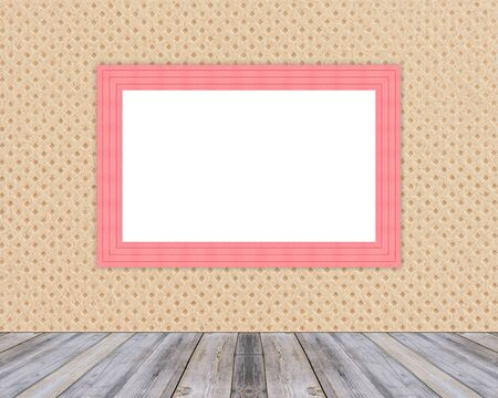 floor cloth: Blank red wooden photo frame leaning at cloth wall and diagonal wood floor,Mock up for adding your design