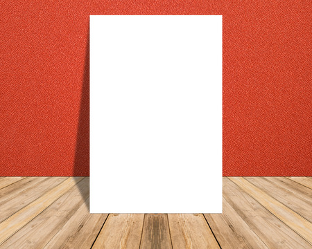 floor cloth: White Blank Poster in red cloth wall and tropical wooden floor room,Template Mock up for your content.