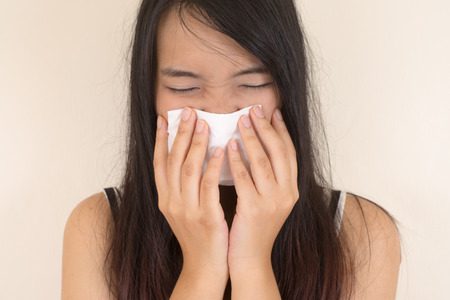 symptom: Flu cold or allergy symptom Stock Photo