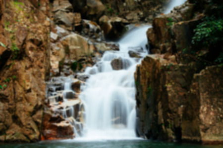 namtok: Blurred background : Waterfall at Namtok Phlio National Park in Chanthaburi ,Thailand. Stock Photo