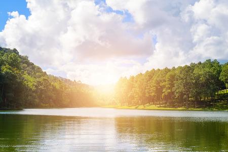 pang: Pang-ung lake in Maehongson,Thailand.- vintage filter effect