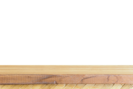 Empty light wood table top isolate on white background, Leave space for placement you background,Template mock up for display of product