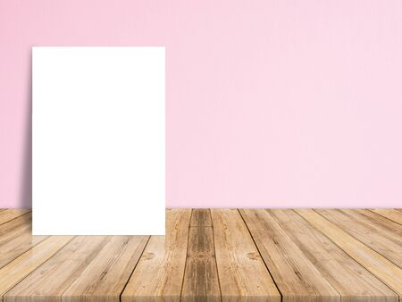 shiny background: Blank white paper poster on plank wooden floor and concrete wall, Template mock up for adding your content,leave side space for display of product