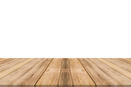 vintage timber: Empty light wood table top isolate on white background. Leave space for placement you background - can be used for display or montage or mock up your products.