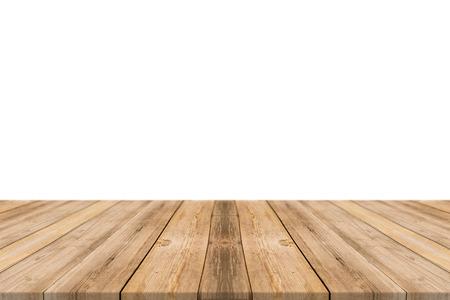 Leere hellen Holztischplatte isoliert auf weißem Hintergrund. Lassen Sie Raum für die Platzierung Sie Hintergrund - können für die Anzeige oder Montage oder Mock-up Ihre Produkte verwendet werden. Standard-Bild