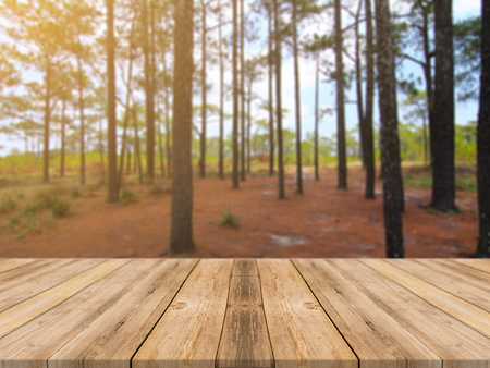 forest products: Wooden board empty table in front of blurred background. Perspective brown wood over blur trees in forest - can be used for display or montage mock up your products. vintage filtered image.
