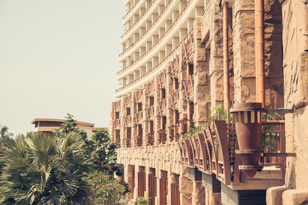 residential settlement: Background of the facade of residential building, the hotels terraces
