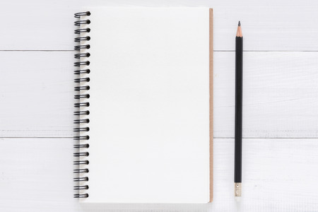 Minimal work space - Creative flat lay photo of workspace desk. White office desk wooden table background with open mock up notebooks and pens. Top view with copy space, flat lay photography. Foto de archivo