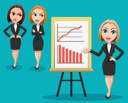 Geschäftsfrau, die eine Darstellung gibt. Zwei Frauen hören der Darstellung mit Neid und Ärger. Unterschiedliche Emotionen Büroarbeiter. Business-Konferenz-Konzept. Flaches Design.
