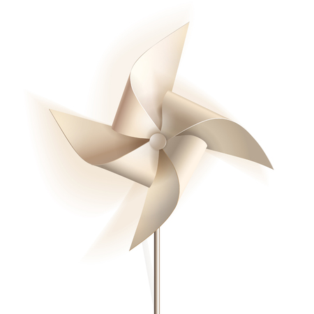 Pinwheel. Toy windmill propeller from white paper.  illustration. Illustration