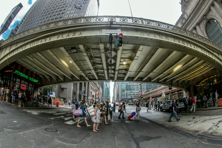 pershing: New York, August 12, 2016: Pedestrians are seen by Grand Central station in Manhattan.