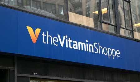 shoppe: New York, August 6, 2016: The Vitamine Shoppe store sign over one of its locations in Manhattan. Editorial
