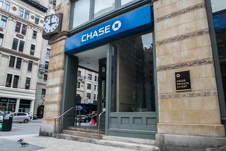 New York, 28 september 2016: Een retail Chase-banklocatie in Manhattan.