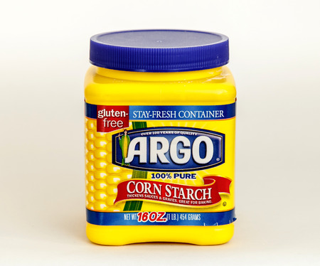 New York, December 17: A sixteen ounces container of Argo corn starch is seen against white background.