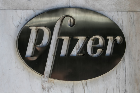 New York, July 19, 2016: Pfizer logo on the building of the companys headquarters in Manhattan. Editorial
