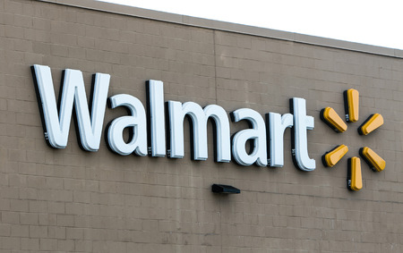 Mount Pocono, Pennsylvania, July 15, 2016: A Walmart sign is seen on the wall of one of their many stores. Editorial