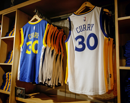 differently d48c0 e389c New York, February 21, 2017: Replica jerseys of Curry of Golden..