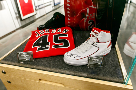 New York, February 21, 2017: Michael Jordan signed commemorative items for sale are displayed in the NBA store in Manhattan. Editorial
