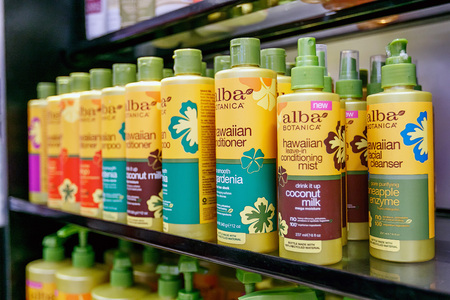 New York, February 6, 2017: Bottles of personal care products from Alba Botanica occupy a shelf of a TJ Maxx store. Editorial