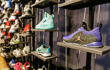 New York, February 21, 2017: Assorted Air Jordan basketball shoes for sale in the NBA store in Manhattan. Editorial