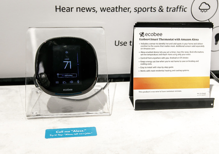 New York, June 1, 2017: Ecobee - smart thermostat with Amazon Alexa sits on display at a newly opened Amazon Books store in Time Warner Center.