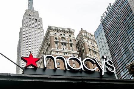New York, July 27, 2017: Macy's signage is displayed on an awning above one of the entrances to the flagship store in Manhattan.