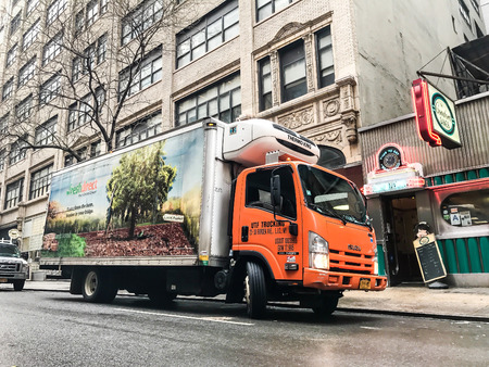 New York, January 12, 2017: A Fresh Direct truck is parked in the streets of Manhattan. Fresh Direct is a food delivery service. Editorial