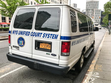 Brooklyn, May 24, 2017: NYS Unified Court System vehicle is parked by the New York Supreme Court building in Brooklyn.