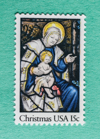 US Christmas postage stamp with an illustration of Madonna with Child.