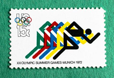 Amerikaanse postzegel ter herdenking van de XX Olympische Zomer Spelen gehouden in München in 1972.