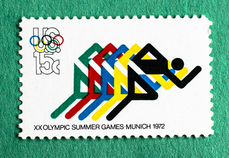 US postage stamp commemorating the XX Olympic Summer Games held in Munich in 1972.