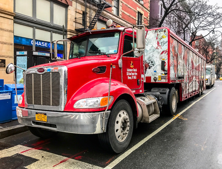 New York, Feburary 8, 2017: A Budweiser beer delivery truck is parked on Columbus Avenue in Manhattan.