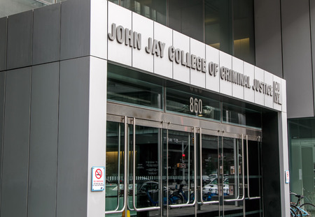 manhattans: New York, August 10, 2017: Entrance to John Jay College of Criminal Justice located on Manhattans West Side. Editorial