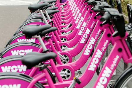 Reykjavik, Iceland, August 25, 2017: City bikes for rent are docked in their stations in Reykjavik.