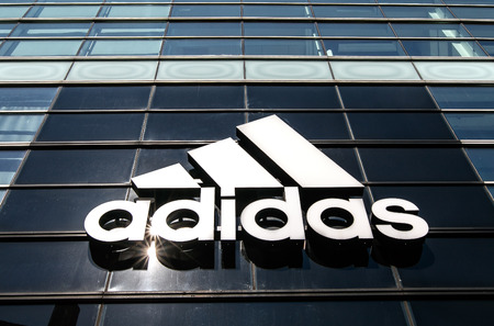 Nowy Sacz, Poland August 12, 2017: Collection of trendy Adidas..