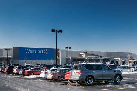 Egg Harbor Township, NJ, December 10, 2017: Cars parked in Walmart parking lot.