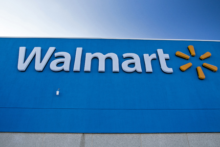 Egg Harbor Township, NJ, December 10, 2017: Closeup of the logo and lettering on a Walmart retail location.