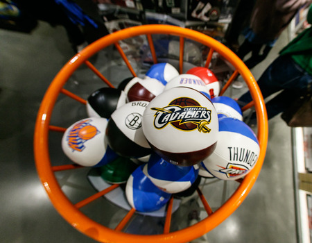 New York, October 20, 2017: NBA team branded squeezable balls on sale in the NBA store in Manhattan. Editorial