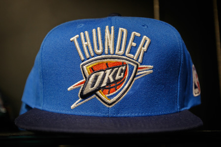 New York, October 20, 2017: Oklahoma City Thunder hat on sale in the NBA store in Manhattan.