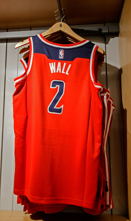 New York, October 20, 2017: Replica jersey of John Wall of Washington Wizards on sale in the NBA store in Manhattan.