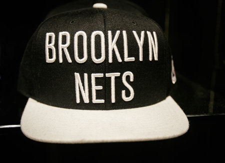 New York, October 20, 2017: Brooklyn Nets hat on sale in the NBA store in Manhattan.