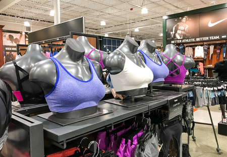 South Plainfield, NJ, 02/17/2018: Sport bras are displayed in a Dick's Sporting Goods store.
