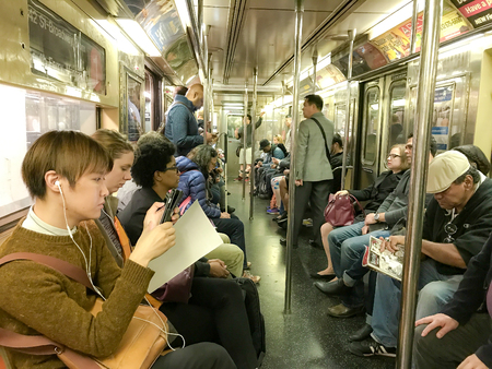 New York, May 24, 2017: People are using subway in Manhattan. 에디토리얼
