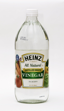 New York, February 25, 2018:  Bottle of Neinz vinegar red wine on white background. 報道画像