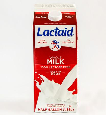 New York, December 17: A carton of lactose free whole milk.