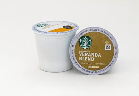 New York, January 5, 2017: Two Starbucks Veranda Blend coffee capsules for Keurig coffee machine are seen against white background.