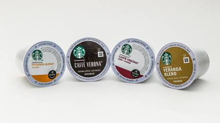 New York, January 5, 2017: Four Starbucks  coffee capsules for Keurig coffee machine are seen against white background.