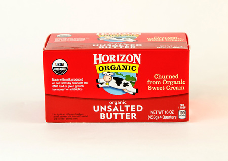 New York, December 17, 2016: A pack of Horizon unsalted butter is seen on white background. 에디토리얼