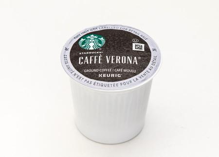 New York, January 5, 2017: A single Starbucks Caffe Verona coffee capsule for Keurig coffee machine is seen against white background.