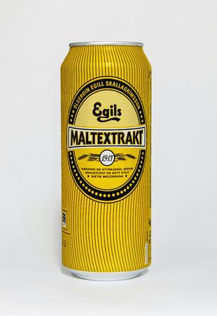 New York, September 17, 2017: Can of Malkextrakt stands against white background.